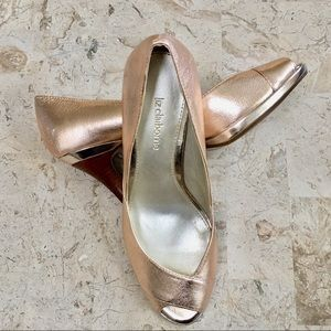 Dress Pump Open Toe High Heel Metallic Leather